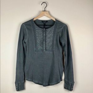 NWT Lucky Brand Thermal Washed & Worn Top (Small)